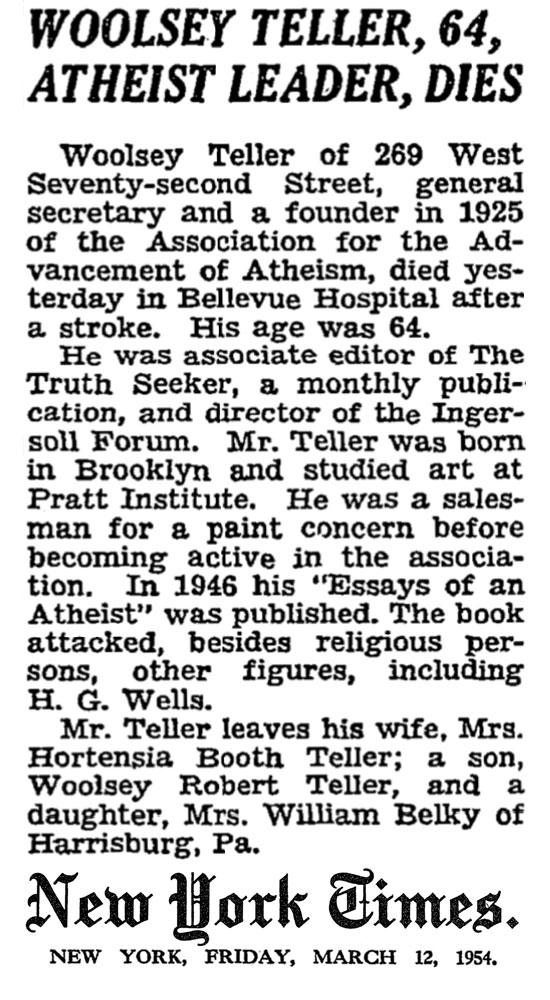 Woolsey Teller Obituary