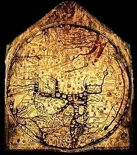 A T-O type map, from 1300 (Hereford Cathedral, England) with Jerusalem at center, east toward the top, Europe at bottom left and Africa on the right.