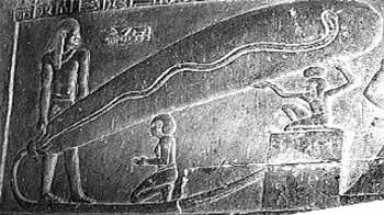 Egyptian holding lightbulb